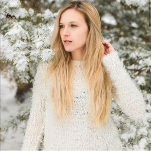 Free People | Cream Boucle Wool Blend Sweater